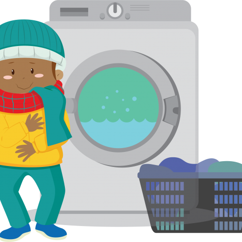 Flames wash cold animtion of a kid next to a washing machine in winter clothing, to denote washing clothes using cold water.